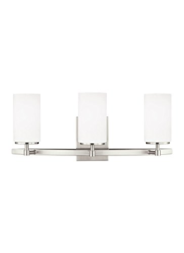 Sea Gull Lighting 4424603EN3-962 Alturas Three-Light Bath or Wall Light Fixture with Etched White Inside Glass Shades, Brushed Nickel ()