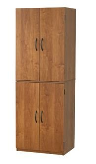 Tall Storage Cabinet with 4 Doors Pantry Cupboard Has Two Adjustable Shelves and One Fixed Shelf. Guaranteed. Kitchen Cabinets Store Cookbooks and Pantry Goods. Use in Bedroom or Dorm for Linens, Towels. In the Garage, It's a Utility Supply Closet. (Alder) - Four Adjustable One Fixed Shelf