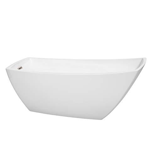 Wyndham Collection WCBTK153367BNTRIM Antigua Freestanding Bathtub with Brushed Nickel Trim, 67