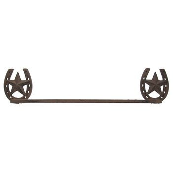 dist by classyjacs ABC Products - Heavy Cast Iron - Horseshoe Towel Bar- Good for Home, Log Cabins, Cottages, Stock Barn, and More - (Aged Iron Cast Finish - Accented with Horse Head Inside) (Cabin Bar Towel)