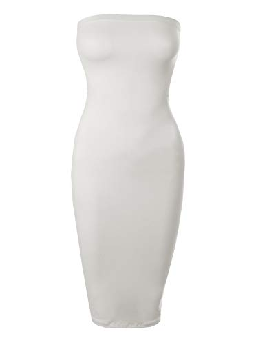 BEYONDFAB Women's Stretchy Comfort Strapless Tube Top Body-Con Midi Dress White L