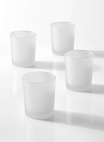Serene Spaces Living Set of 96 White Frost Glass Votive Candle Holders, Ideal Restaurant Tables, Aromatherapy