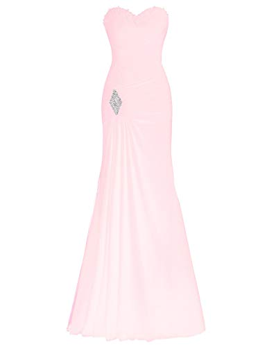 Bess Evening Mermaid Prom Party Women's up Beaded Dress Lace Pink Chiffon Bridal Blushing rZOxqwCB8r