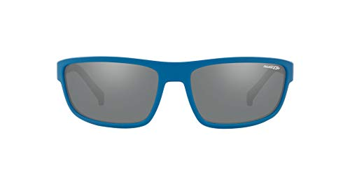 Arnette Men's AN4259 Borrow Rectangular Sunglasses, Matte Blue /Grey Mirror Silver, 63 ()