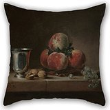 Alphadecor Oil Painting Jean-Siméon Chardin (French - Still Life With Peaches, A Silver Goblet, Grapes, And Walnuts Pillowcase 16 X 16 Inches / 40 By 40 Cm For Shop,bedding,gril Friend,lover,husba
