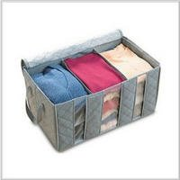 Set Of 2 Quilt Cloth Blanket Pillow Fabric Storage Organizer Container Bag Transparent Window Bamboo Charcoal Box Under bed Closet Case Folding Plaid Non-woven (Gray)