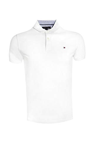 Tommy Hilfiger Mens Slim Fit Mesh Polo Shirt (L, White) ()