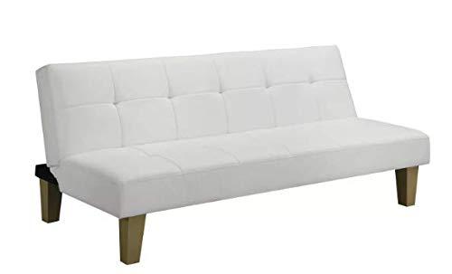Alexis Futon Sofa Bed Faux Leather White - Room & Joy