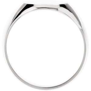 Mens Sterling Silver Solid Oval Signet Ring, Size 6 to 7, 16.00 X 14.00 mm