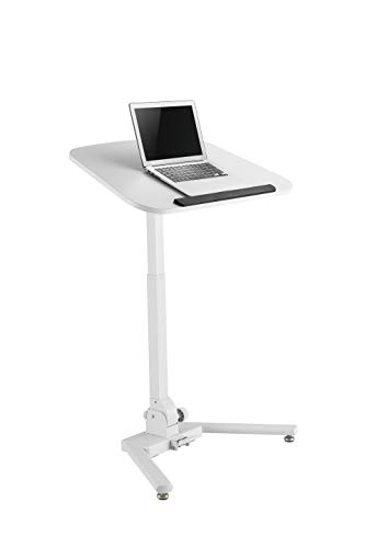 TechOrbits Mobile Standing Desk, Laptop and Computer Stand Height Adjustable Lectern, Folding Computer Table Pneumatic Sit Stand Rolling Stand Up Cart Workstation