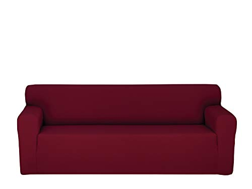 Chiara Rose Stretch 1 Piece Sofa Slipcover 3 Seat Couch Cover with Arm Spandex Furniture Protector Burgundy (Slipcover Burgundy)