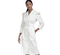 Peaches Uniforms Women's 3/4 Sleeve Embroidered Waist Scrub Dress White by Peaches Uniforms