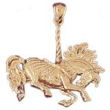 CleverEve 14K Gold Charm 3-D Carousels 18.5 Grams
