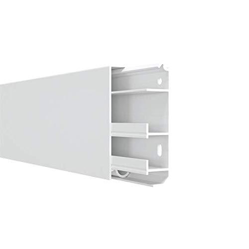 Farbe: Wei/ß H/öhe 80 mm Habengut  3 m Sockelleiste aus PVC mit integriertem Kabelkanal 2 St/ück /á 1,5 Meter