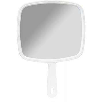 Salon Professional Hairdressing Large Hand Held Mirror White