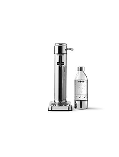 Aarke Carbonator 3 sodamaker met een roestvrijstalen behuizing en premium PET-fles, stalen afwerking.