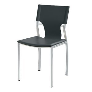- Nuevo Lisbon Leather Dining Side Chair in Black