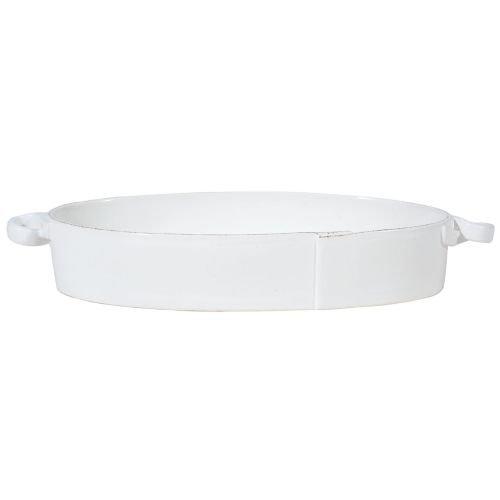 Vietri Lastra White Handled Oval Baker
