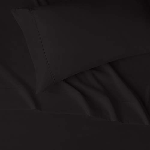 "AmazonBasics Lightweight Super Soft Easy Care Microfiber Bed Sheet Set with 16"" Deep Pockets - Twin, Black"