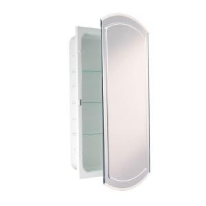 Headwest V-Groove Beveled Mirror Recessed Medicine Cabinet, 16-Inch by 30-Inch by Head West