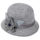(Baigoods 2015 New Fashion Women Flax Flower Party Hat Bowler Billycock Cap Hot Sales (gray))