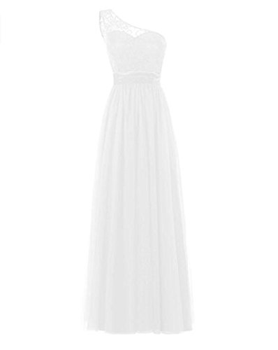 Long Bridesmaid Women's Lace Evening Ivory Gown Shoulder Dress Tulle One Sleeveless ZfYfAwq