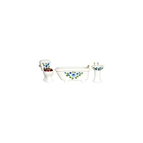 ドールハウスミニチュア青Floral Bathセット/ 3/ 3 CS B01DQ3CUBY/ B01DQ3CUBY, 【国内在庫】:da929221 --- melk21.ir