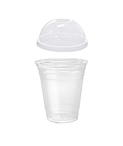 Pack of 25 Clear Plastic Parfait Cup 12 oz with Dome Lid]()