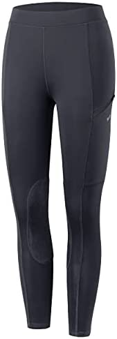 Willit Girls Horse Riding Pants Tights Kids Equestrian Breeches Knee-Patch Youth Schooling Tights Zipper Pocke