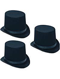 Rhode Island Novelty Felt Top Black Deluxe Butler Magician Costume Adult Hats - 3 Pack - Top Black Felt Deluxe Hat