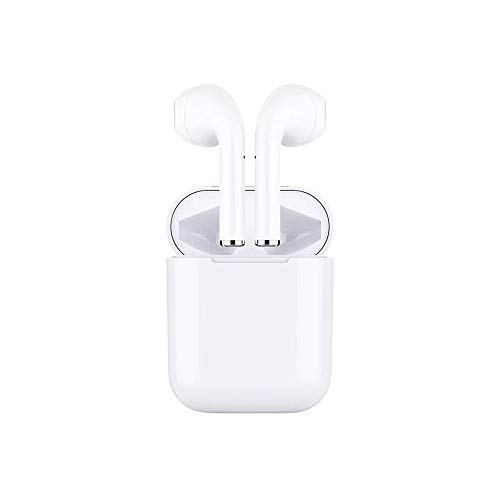 TWS-10 Bluetooth Headphones Wireless Earbuds Stereo Earphones Cordless Sports Headsets Compatible with iPhone XMAS/XR/X/8/7/6/6s Plus and Samsung Galaxy S7 S8 S9 Plus and Android Smart Phones-White