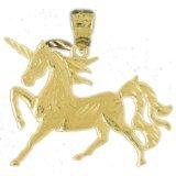 CleverEve 14K Yellow Gold Pendant Unicorn 2.1 Grams