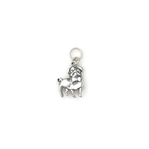 (Sterling Silver Pug Charm, Silver Pug Pendant, Silver Pug Jewelry fr Donna Pizarro's Animal Whimsey Collection)