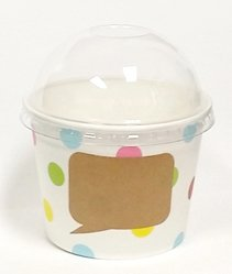 [ Momoka's Apron ] 48 ct Treat (Ice Cream) Paper Cup (12 oz) with Dome Lids Set & Colored Spoons - Polka Dot (Pink Ice Cream Container compare prices)