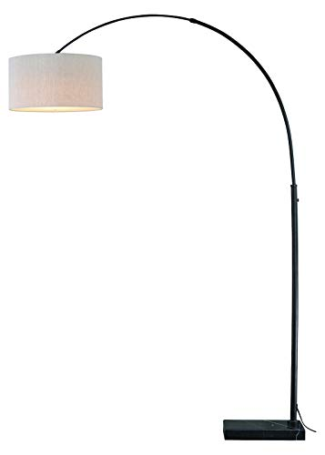 Luna Instalux Led Arc Lamp Oil Rubbed Bronze with Brown Linen Shade from Vaxcel International