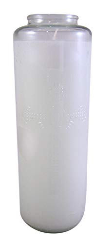 8 Day Glass Bottle Style Sanctuary Light Candle with Cross Design