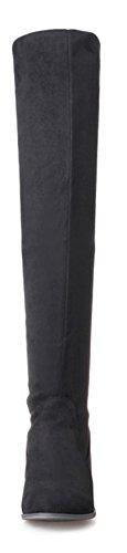 On Haute Tige Mode Aisun Bottes Femme Slip Noir Style qnYIt