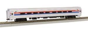 Amfleet I Phase II Amtrak Coach - 85' Budd Passenger Car with Lighted Interior. HO - Passenger Budd Car
