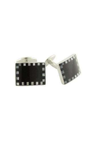 David Donahue Sterling Silver Rectangle and Mother of Pearl Cufflinks - Onyx (H95518702)