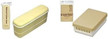 Yamada Chemistry [2 Lunch Boxes Set] Slim 2 Staged Lunch Box & Sandwich Case Beige