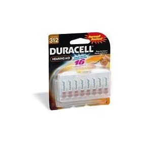 Duracell Easy Tab Hearing Aid Batteries Size 312 (16 batteries)