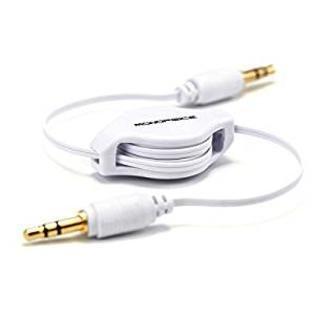 ReTrak Retractable AUX 3.5mm Audio Cable, White ( ETCABLE35WT)