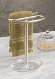 MDesign Bathroom Hand Towel Holder With Jewelry Tray For Vanity Countertops    Clear/Satin