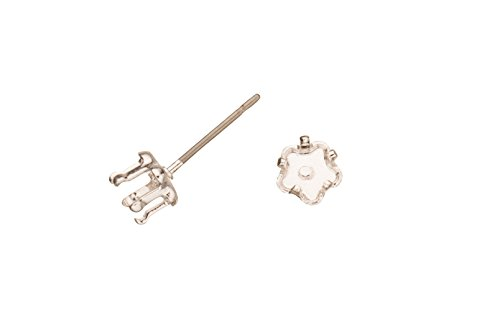 Clover Snap-On Ear Stud Silver Plated Brass Fits 5mm Cabochons And Crystal With Surgical Stainless Steel Pin 5X5mm sold per 10pcs/pack (3pack bundle), SAVE ()