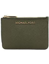 Michael Kors Jet Set Travel Small Top Zip Coin Pouch with ID Holder in Saffiano Leather ()