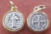 Catholic Religious Vintage Antique St. Benedict Saint Medal Pendant Charm, Loose, No Chain, St Benedict Medal Material:antique Gold Plated Alloy Thickness:5mm - And Burch Tori