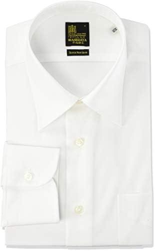 ワイシャツ 早稲田屋 綿100% ノーアイロンシャツ 長袖ワイシャツ レギュラーカラー すっきりシルエット メンズ WD-2000