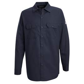 Bulwark Size 2X Navy Cotton Long Sleeve Flame Resistant Shirt with Button Closure (3 Pack)