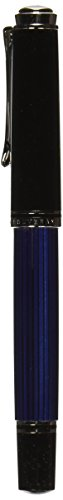 PELIKAN Souveran Fountain Pen Fine, Black/Blue (932814) by Pelikan