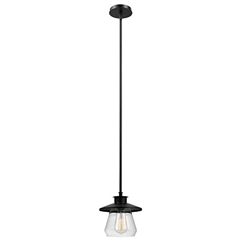Globe Electric 1-Light Modern Industrial Pendant, Oil Rubbed Bronze Finish, 1x 60W Max E26 Bulb (sold separately), 64847 ()